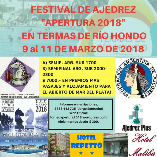FESTIVAL DE AJEDREZ _APERTURA 2018_ EN TERMAS DE RÍO HONDO (2)